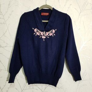 Pitlochry Scotland Navy Floral Embroidered Sweater